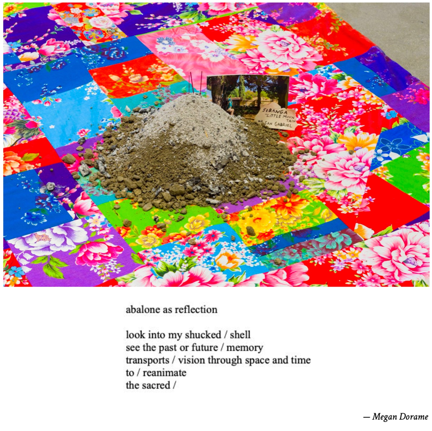 Picture of art work: iris yirei hu, Lessons from Wise Woman (Julia Bogany), 2018. Mixed media. Photo by Ruben Diaz. Poem, Abalone as Reflection, by Megan Dorame.