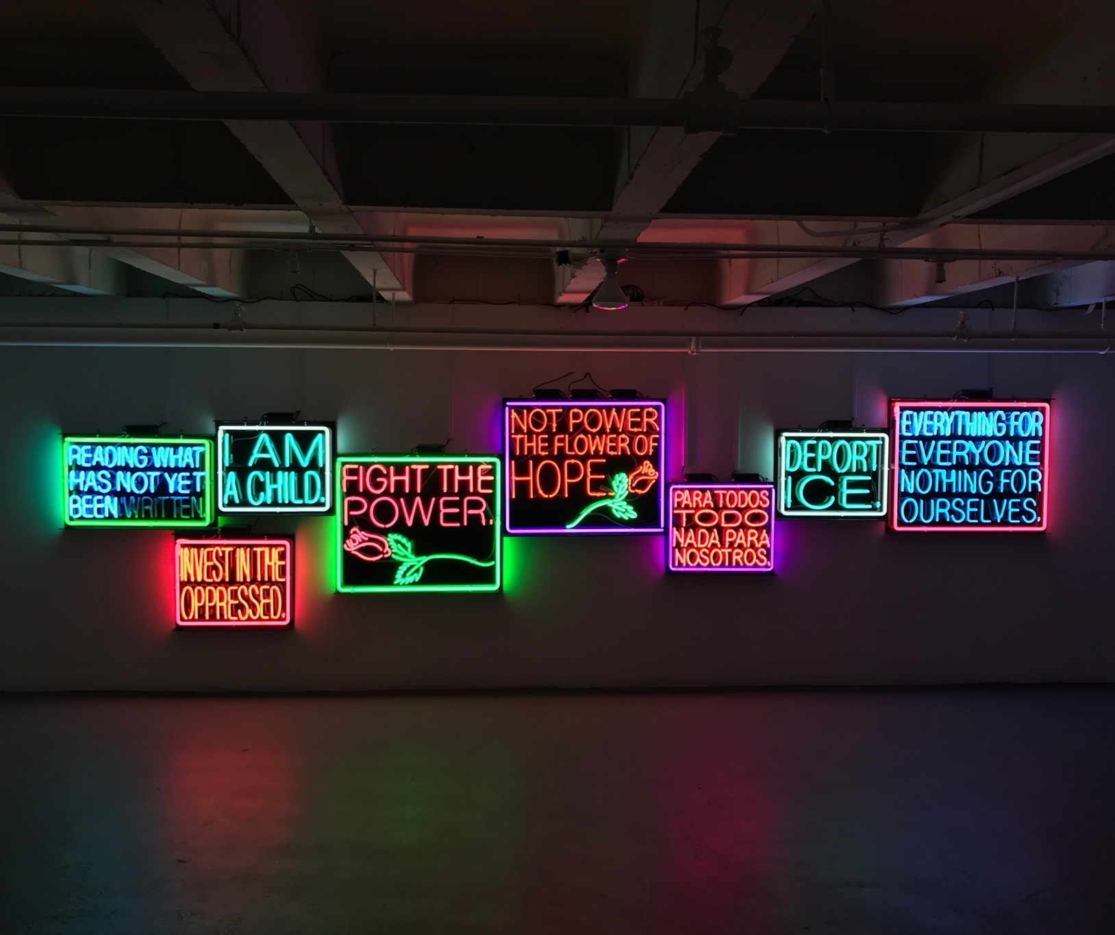Picture of art work: Patrick Martinez, Remembering to Forget Neon Installation, 2018. Neon. Courtesy of Charlie James Gallery