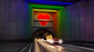 Picture of art work: Tory DiPietro, Rendering of Light at the End of the Tunnel – Heart of Los Angeles. Image courtesy of the artist. © Tory DiPietro, Watch Me Glow Neon